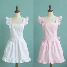 Victorian Style Pinafore Apron Maid Smock Costume Dress Ruffle Pocket 2 Colors