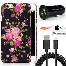 iPhone 6 6S+Plus Flower Case With Apple MFI Lightning to USB Cable+Car charger