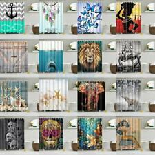 Water Resistant Bathroom Shower Curtain Panel Sheer Decor With 12 Hooks PICK