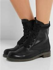 Punk Womens Real Leather Lace Up Round Toe Ankle Boots Combat Knight Boots Shoes