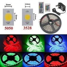 5M/10M 3528 5050 SMD RGB Flexible LED Strip Light+24/44 IR Remote+Power Supply