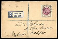 Antigua 6 Pence Registered Single Franked Cover to England 1913 commercial