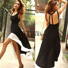 Women Sexy U Neck Backless Asymmetric Hem Cocktail Evening Party Long Maxi Dress
