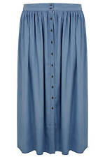 YoursClothing Plus Size Womens Ladies Chambray Maxi Skirt Elasticated