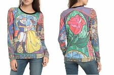 DISNEY BEAUTY AND THE BEAST STAINED GLASS SUBLIMATION SHIRT TOP BLOUSE SWEATER