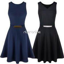 Women Lady Long Cotton Sleeveless Evening Party Prom Gown Formal Cocktail Dress