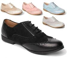 LADIES FLAT FAUX SUEDE METALLIC OXFORD BROGUE LACE-UP PUMPS OFFICE WORK SHOES