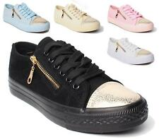 NEW LADIES WOMENS FLAT TRAINERS SKATER SHOES LACE UP ZIP SNEAKER PUMPS SIZE