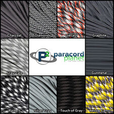 550 Type III 7 Strand Mil-Spec Survival Paracord Gray Colors 10' 25' 50' 100'