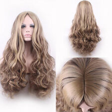 Women Flaxen Blonde Long Wavy Curly Hair Anime Dress Party Cosplay Wigs +Wig Cap