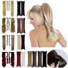 Lady Clip In Ponytail Pony Tail Hair Extension Wrap Around Hair Piece Black Wine