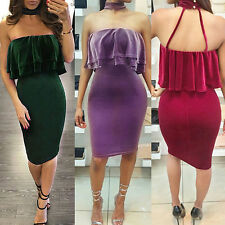 WOMEN CASUAL SUMMER SEXY OFF SHOULDER RUFFLES STRAPLESS HALTER MINI DRESS COMELY