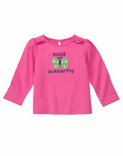 "NWT GYMBOREE GIRLS ""GARDEN PARTY"" PINK SOCIAL BUTTERFLY TOP SIZES: 3-6M & 6-12M"