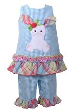 Bonnie Jean Little Girl Summer Blue Gingham Bunny Easter Dress Outfit 4 - 6X New