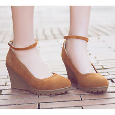 Womens Wedge Heel Faux Suede Ankle Buckle Casual Platform Mary Janes Pumps Shoes