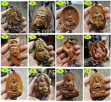 Wood Carving Chinese Feng Shui Buddha Kwan Yin Dragon Pixiu Statue Car Pendant