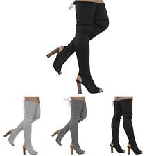 WOMENS LADIES THIGH HIGH KNIT STRETCH OVER THE KNEE CELEB BLOCK HEELS BOOTS SIZE