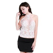 Women Summer Floral Lace Vest Top See Through Blouse Casual Tank Tops T-Shirt
