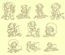 Bears Fishing Redwork Machine Embroidery CD-30 Designs-by Anemone Embroidery