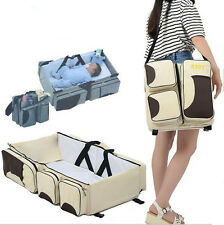 3 in1 Mummy Baby Diaper Travel Bag Portable Infant Nursery Crib Folding Bed