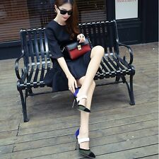Graceful OL Color-mixed High Heel Strappy Stiletto Pointed Toe Pump Womens Shoes