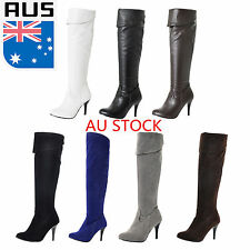 Sexy Women Lady Over Knee Faux Suede Stretch Thigh High Heel Shoes Winter Boots