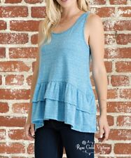 NWT Boutique Entro Ruffle Hem Tank - Blue - Small, Medium & Large