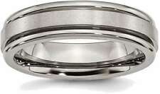 Titanium Grooved Edge 6mm Satin and Polished Band Ring TB41
