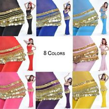 Belly Dance Costume Sequins Hip Scarf Skirt Dancer Dancing Gold Coin Belts Wrap