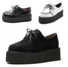 Fashion Womens Faux Suede Punk Gothic Lace Up High Platform Flat Creeper Shoes