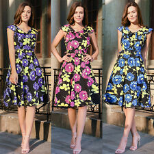 UK 8-16-20 Womens 40's 50's Audrey Style Housewife Pinup Summer Tea Party Dress