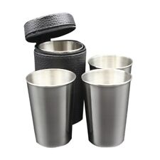 4pcs/set 70ml/180ml Portable Stainless Steel Wine Cups Camping/Travel Cup Mug