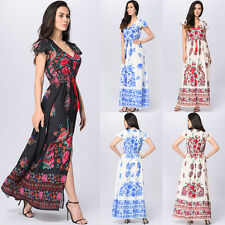 Ladies Boho Rockabilly Floral Print Summer Beach Holiday Party Long Dress UK8-20