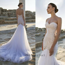 2017 Summer Sexy Mermaid Wedding Dresses Strapless Lace Bridal Gowns Custom New