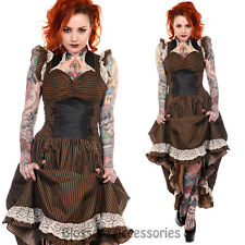 RKN1 Banned Steampunk Corset Victorian Long Brown Black Striped Dress Burlesque
