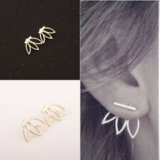 Fashion Women's Gold/Silver Hollow Out Lotus Flower Stud Earrings Simple Jewelry