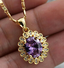 18K Yellow Gold Filled- 8*10MM Oval Amethyst Topaz Flower Party Pendant Necklace