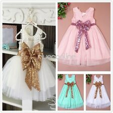 Cute Infant Baby Girls Sequined Flower Tutu Dress Bowknot Princess Pageant Gown
