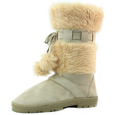 Women's Round Toe Pompom Fur Mid Calf Ankle Strap Flat Heel Warm Boots Shoes