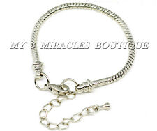 Bracelet Adjustable Silver Snake Chain Girls Starter Style without beads empty