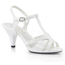 White Strappy Sandals Mens Drag Queen Kitten Heels Large Size Womans Shoes 13 14