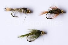18 Gold Head Nymphs Trout Fly fishing Flies GRHE, Diawl Bach, Rough Olive Nymph