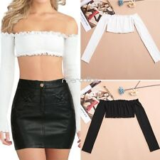 Women Ladies Sexy Off Shoulder Ruffled Crop Top Tank Long Sleeve Blouse T Shirt