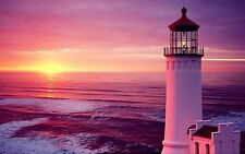 Lighthouse Sea Pink Sunset Stunning Canvas Pictures Wall Art Prints All Sizes