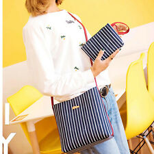 Women Stripe Satchel Messenger Crossbody New Purse Clutch Shoulder Bag Handbag J