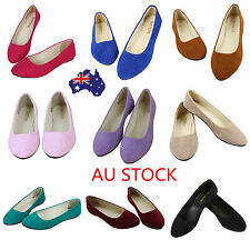 Women Candy Colors Flats Wedge Heels Ballet Fake Suede Casual Pointed Toe Shoes
