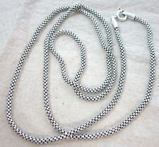925 STERLING SILVER Hollow Round Oxidised Thai Bali Style Chain 22' 24'