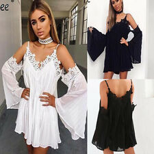 New Womens Lady Summer Tops Strap Dresses Long Trumpet Sleeve Sexy Fashion Style