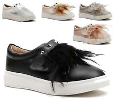 LADIES SLIP ON FEATHERS FLAT STICK ON STRAP SNEAKERS SKATER TRAINERS PUMP SHOES