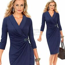 Women Formal Party OL Wear To Work Business Cocktail Bodycon Pencil Warp Dress